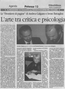 IL QUOTIDIANO DELLA BASILICATA, Frontiera di Pagine, L'ARTE TRA CRITICA E PSICOLOGIA, 18 GIUGNO 2013